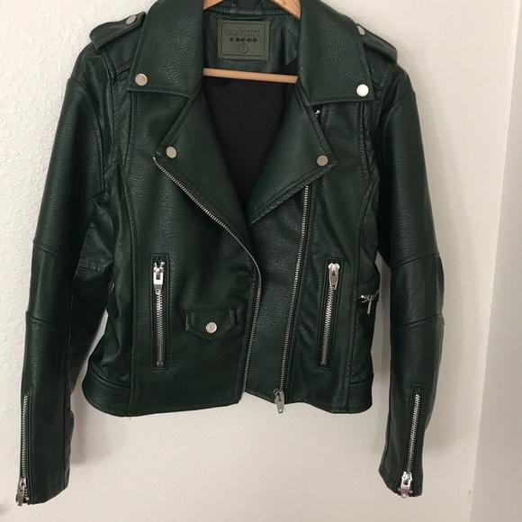 Blank NYC Jackets & Blazers - Blanknyc Green Moto Leather Jacket